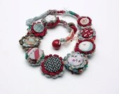 Handmade crochet necklace with fabric buttons, blue red, OOAK