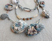Handmade crochet necklace bracelets ring with wooden beads and buttons, blue gray beige, OOAK