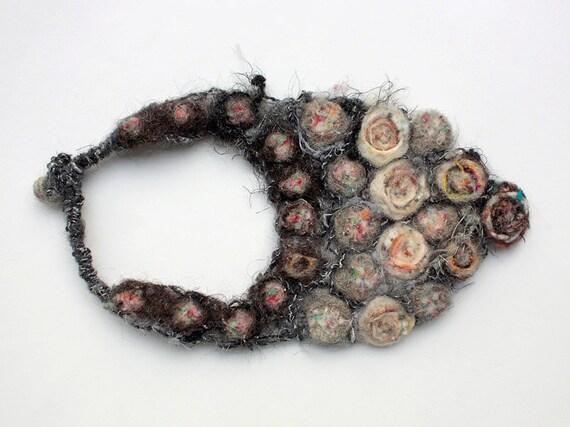 Handmade needle felted necklace