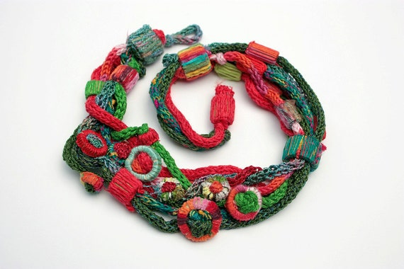 Handmade knit necklace with bamboo beads, red green, OOAK
