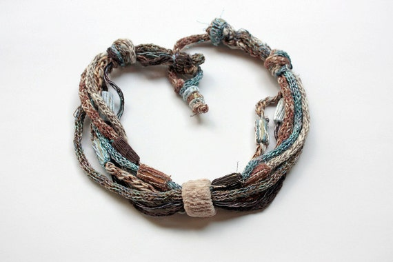 Handmade knitted necklace with bamboo beads, beige brown blue, OOAK
