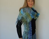 MONTEREY - Blue and Green Shawl handwoven SAORI  wrap with hundreds of beads