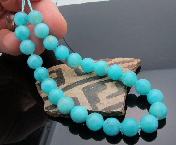 All New Amazonite Glowing Blue & Green Sphere Beads - 7.80inches