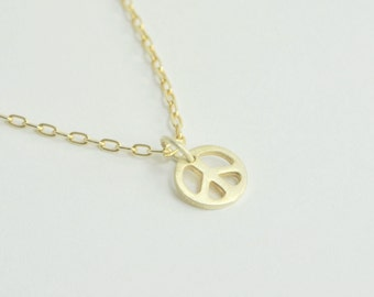 Solid 14K Gold Peace Sign Necklace