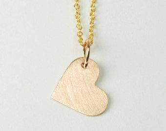 Solid 14K Rose Gold Heart Pendant