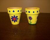 Set of 2 hand painted miniature FLOWER POTS
