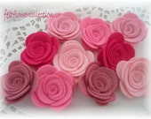 Wool Felt Flower- 10 pcs Small Wool Felt Posey-Pretty in Pink Collection or Pick Your Own Colors