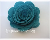 Wool Felt Flower- 2 pcs Jumbo Wool Felt Posey- Peacock or Pick Your Own Colors