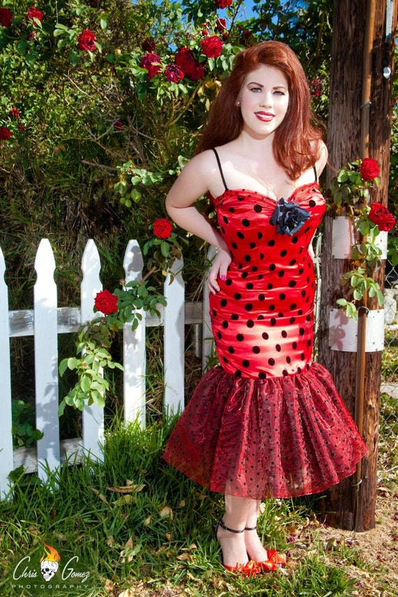 Reproduction Grease Rizzo Polka Dot Red Dress Rockabilly Retro