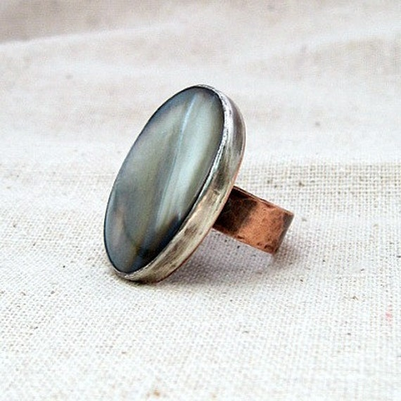 Large Silver Ring - Stone Ring - Copper Ring - Shell Jewelry - Custom Jewelry - Hammered