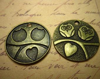 10pcs 25mm antique bronze owl charms pendant R22694