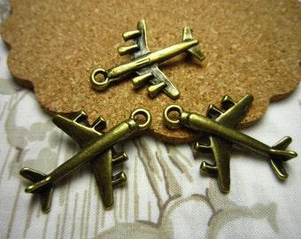 20pcs 28x23mm antique bronze fighter plane charms pendant c3950