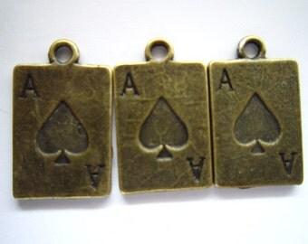 30pcs 17x12mm antique bronze ace charms pendant R22344