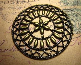 10pcs 47mm antique bronze round flower charms pendant R23392