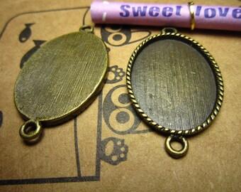 20pcs 25x18mm antique bronze cabochon pendant settings R20759