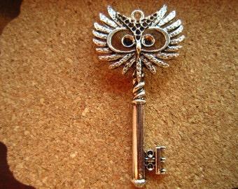 5pcs 55x29mm antique silver owl key charms pendant R24716