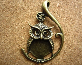 10pcs 48x30mm antique bronze owl charms pendant R23395