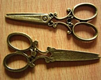 20pcs 60x25mm antique bronze scissors charms pendant R21835