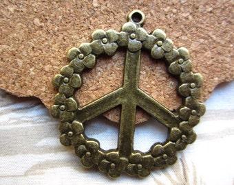 10pcs 38mm antique bronze peace symbol charms pendant R23471