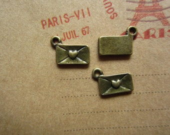 50pcs 10x6mm antique bronze love heart letter charms pendant R21887