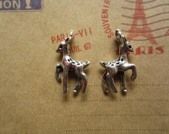 20pcs 23x13mm antique silver deer animal charms pendant B357