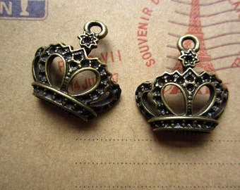 20pcs 22x22mm antique bronze crown charms pendant R23709