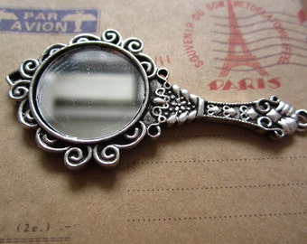 2pcs 69x35mm antique silver mirror charms pendant R25425