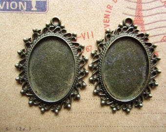 10pcs 25x18mm antique bronze cabochon pendant settings R23844