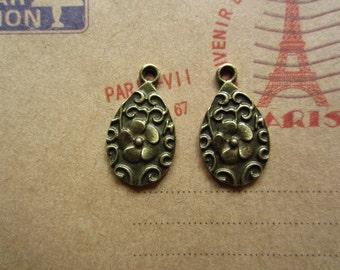 50pcs 21x12mm antique bronze flower charms pendant R25490