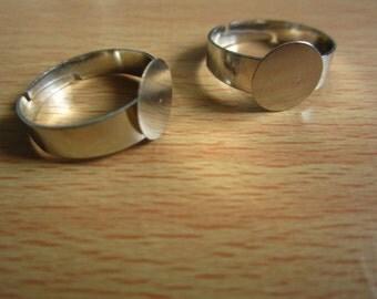 40pcs 10mm pad silver ring base,diameter 18mm adjustable R25748