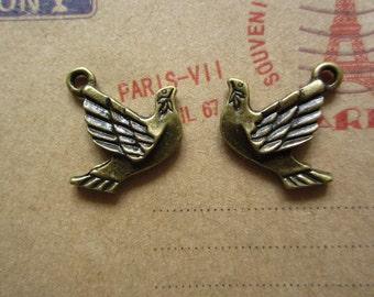 50pcs 21x18mm antique bronze bird charms pendant R20444