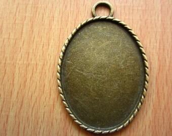6pcs 40x30mm antique bronze cabochon pendant settings C5850