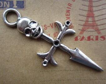 10pcs 63x28mm antique silver crossbones charms pendant C2422