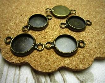 10pcs 10mm antique bronze cabochon pendant settings R23446