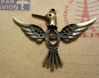 10pcs 56x40mm antique bronze bird charms pendant C2781