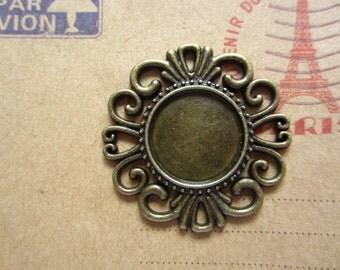 10pcs 16mm antique bronze cabochon pendant settings C2654