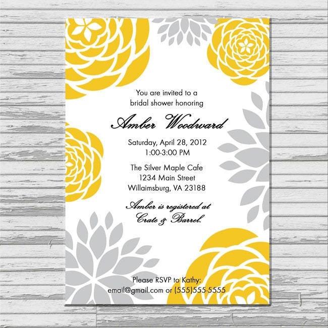 yellow and gray grey bridal shower invitation by