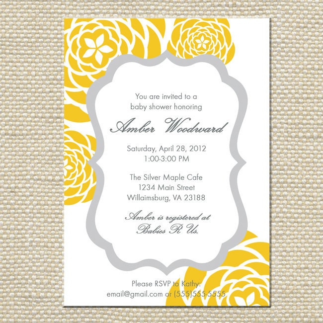 yellow and gray grey baby shower invitation by bellaloveletters