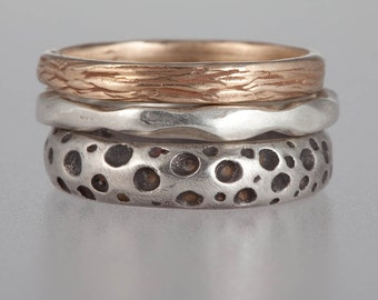"Stacking Bands - 14k gold ""twig"" band, sterling silver ""bone"" band, oxidized sterling silver ""dotted"" band"