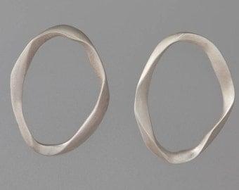 Sculpted Oval Sterling Silver Earrings