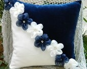 navy blue and ivory flower pillow cover