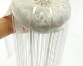 Ivory silk velvet wedding ring bearer pillow with tassel