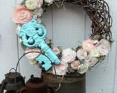 """Fabric Flowers Wreath, Shabby Chic w/ Aqua Key - 21"""""""