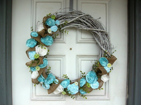 Shabby Chic Wreath w/ Burlap and Fabric Flowers - Aqua, Green, and White - Beach Wreath - Spring Wreath - 25""