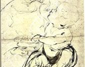 Vintage Book PLATE -Leonardo Da Vinci -Harvested Prints -Prints to Frame-Madonna and Child drawing