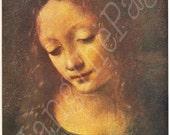 2 Vintage Book PLATES -Leonardo Da Vinci -Harvested Prints -Prints to Frame-Madonna, The Virgin of the Rocks - La Gioconda - Paris