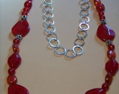 Red Necklace with Silver Chain - Multi-functional