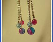 Earrings - Pink and Blue Beads on Silver Chain