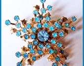 "Vintage Aqua Blue Rhinestone Gold Metal SNOWFLAKE Brooch or Pin 2.5"" EX"