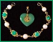Vintage Jade Green Heart Gold Metal Pendant & Marble Green Stone Gold Link Bracelet Set EX CIJ Sale